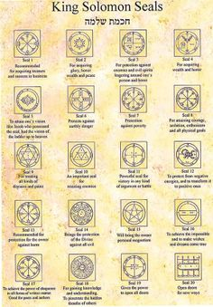 The 44 King Solomon Seals from Israel KIng Solomon Seals Alchemy, Witchcraft, Magick, wicca. occult, pagan interest.