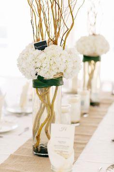 hydrangea and manzanita branch centerpiece // photo by Kina Wicks // http://ruffledblog.com/romantic-illinois-farm-wedding