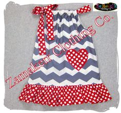 Valentines Pillowcase Dress - Chevron Grey Polka Red Ruffle Dress - Toddler Baby Girl 3 6 9 12 18 24 month size 2T 2 3T 3 4T 4 5T 5 6 7 8. $29.99, via Etsy.