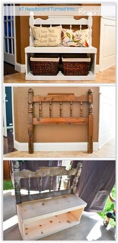 $7 Headboard Turned Into A Bench ... adding a wood box to a headboard for storage ................ #DIY #headboard #storage #bench #wood #furniture #paint #stain #chalkpaint #decor #crafts