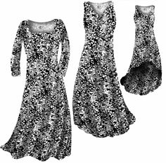 ec76246a58e40 Customize Black   White Stencil Floral Slinky Print Plus Size   Supersize  Standard or Cascading A-Line or Princess Cut Dresses   Shirts