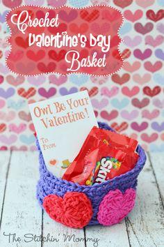 Crochet Valentine's Day Basket by The Stitchin' Mommy http://www.thestitchinmommy.com