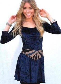 Blue Long Sleeve Velvet Dress with Scoop Neck,  Dress, velvet dress  long sleeve, Casual