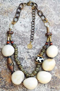 White Tagua: Bold and Organic White Tagua Nut and African Brass Statement Necklace