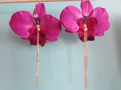 Large Purple Orchid Flower Earrings with by AshleyTorreyDesigns, $20.00