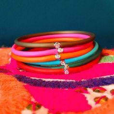 #Bracelet avec un #diamant de 0,03 carat sur une monture argent 925 associé à un lien de polyvinyle de 20 cm #colormylife