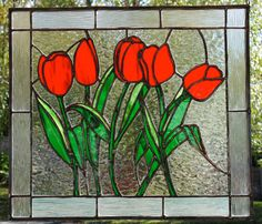 Red Tulips Stained Glass Panel Poppies by FleetingStillness Stained Glass Lamp Shades, Stained Glass Quilt, Faux Stained Glass, Stained Glass Designs, Stained Glass Panels, Stained Glass Projects, Stained Glass Patterns, Mosaic Flowers, Stained Glass Flowers