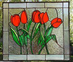 Stained glass tulips panel. 17x15 por GlassStuffBethMakes en Etsy