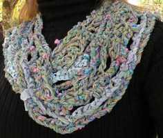 Crochet+scarf+skinny+multicolor+women's+by+LifesAnExpedition,+$61.90