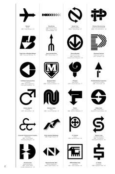 Logo Modernism contains 6,000 trademarks from 1940–1980. Here, modernist logos based on arrow designs.