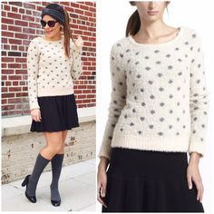 "Anthropologie Dotted Woolly Sweater Super cute polka dot fuzzy sweater from Anthropologie. Like new condition!  -By Moth -Nylon, wool  -Hand wash  -Length 23.5""   NO Trades. Please make all offers through offer button. Anthropologie Sweaters Crew & Scoop Necks"