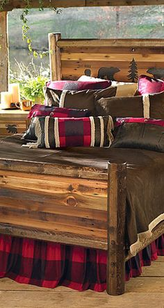 Rustic Wildlife Bed: With bear silhouette, paw print and tree carvings on the rustic headboard and recycled barnwood construction. Rustic Bedroom Furniture, Cabin Furniture, Rustic Bedding, Bedroom Decor, Rustic Bedrooms, Bedroom Ideas, Log Home Bedroom, Rustic Area Rugs, Log Cabin Living
