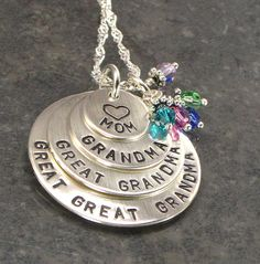 Great Great Grandma Necklace - For the Mom that is a Grandma, Great Grandma  - 6 Birth Crystals to Represent Grandchildren or Grand kids