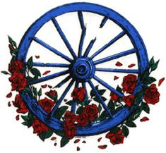 Grateful Dead wagon wheel and roses by Zooomabooma, via Flickr