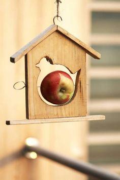 Karmniki dla ptaków - domek z jabłkiem