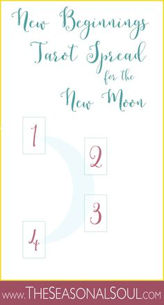 New Moon Tarot Spread for New Beginnings •This Tarot spread is perfect for the first New Moon of Spring.