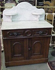 Black Walnut marble top washstand commode For Sale | Antiques.com | Classifieds