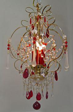 Superbe ! 14 « x 20 » coeur de cristal rouge rubis lustre - laiton / plaqué or 4 lumières $493.10 CAD