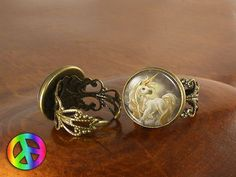 Unicorn Pegasus (5) Adjustable Ring Rings Vintage Antique Womens Jewelry Gift