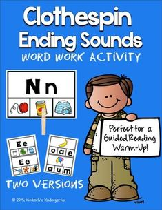 This is a great word work game where students identify the ending sound in pictures and clip a clothespin to the correct picture or letter (or cover with a Bingo chip). Included in this download are 66 cards in two versions (containing the letters a, b, d, e, f, g, k, l, m, n, p, r, s, w, x & y):1.