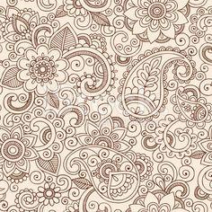 Patrón de tatuaje de Henna Mehndi flores Paisley Doodle diseño vectorial vector de stock libre de derechos