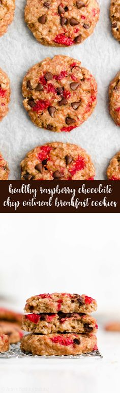 fbb1afd14889 Healthy Raspberry Chocolate Chip Oatmeal Breakfast Cookies – soft, chewy &  only 83 calories!
