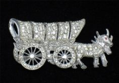 Rare ART DECO Figural Wagon Rhinestone Brooch - Wheels Move BK PC