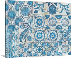 Great Big Canvas 'Istanbul Tiles' by Kathrine Lovell Graphic Art Print Format: White Frame, Size: H x W x D Canvas Art, Canvas Prints, Art Prints, Big Canvas, Canvas Size, Tile Art, Tiles, Framed Artwork, Framed Prints