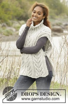 """Come Winter by DROPS Design. #Poncho with cables and high collar in """"Cloud"""". Free #knitting Pattern"""