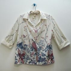 vintage Cockatoo Tropical Birds Dogwood Branches by FASHIONRERUN, $32.00