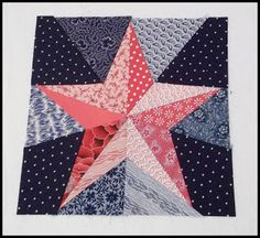 Calientes de peonías rosas: Rojo, Blanco y Azul Blog Hop Bloque - La Estrella de Cinco Puntas
