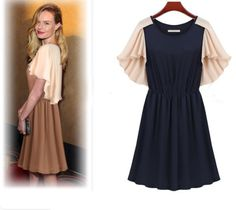 Free shipping!Fashion patchwork o-neck slim waist one-piece dress women high quality batwing sleeve european dress casual dress $19.50
