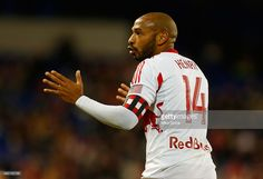 Thierry Henry #14 of New York Red Bulls reacts duirng th egame against the Philadelphia Union at Red Bull Arena on April 16, 2014 in Harrison, New Jersey. Red Bulls defeated the Union 2-1.