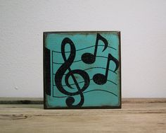 Music Notes Painted Wood Art BlockMatchBlox Mix and by MatchBlox, $29.00
