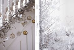 """Gorgeous decorations for a """"White Christmas. Christmas Stairs, Christmas Hanukkah, Christmas Love, Merry Christmas, Xmas, Christmas Ideas, Woodland Christmas, Deck The Halls, Note Cards"""