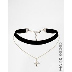 ASOS CURVE Velvet and Cross Charm Multirow Choker Necklace (17 AUD) ❤ liked on Polyvore featuring jewelry, necklaces, accessories, plus size, rhodium, adjustable chain necklace, pendant necklace, pendant chain necklace, multi-chain necklace and multiple chain necklace