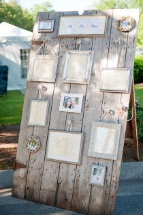 Rustic Picture frame and old wooden door wedding table seating plan