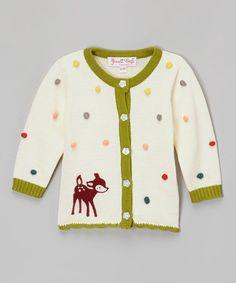 Look what I found on #zulily! Cream & Green Woodland Cardigan - Infant & Toddler #zulilyfinds