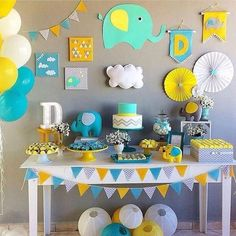 Best selection of DIY party supplies for kids and adults. Party planning profess… Best selection of DIY party supplies for. Cadeau Baby Shower, Idee Baby Shower, Mesas Para Baby Shower, Shower Bebe, Baby Boy Shower, Deco Elephant, Elephant Party, Elephant Baby Showers, Elephant Theme