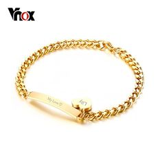 Vnox Can Engrave Thin ID Tag Bracelet Heart Charm Bangle for Women Stainless Steel Chain Charms Bracelets Lady Jewelry Bijoux Jewelry For Her, Jewelry Rings, Fine Jewelry, Women Jewelry, Ladies Jewelry, Fashion Jewelry, Heart Bracelet, Bangle Bracelets, Bangles