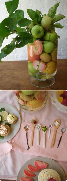 Some fallen apples from our tree and a few small branches that needed some pruning finish off this super easy to assemble centerpiece for a last minute tea or dessert gathering. It can work with lots of other fruits and veggies as well. Just cut some of the fruit in half and press against the container's side along with whole apples, leaving a small space in the center to insert the leafy branches. Rub a little lemon juice on the cut pieces to slow browning.