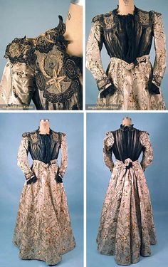 Afternoon dress, E.E. Chapman, Roxbury, MA, ca. 1898. Two-piece taupe faille and silver satin figured dress brocaded with gold and black floral sprays. Bodice has elaborate beaded and lace appliqué trim and pleated black silk chiffon. Augusta Auctions