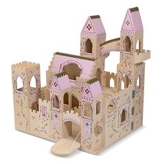 Folding Princess Castle: Welcome, your Majesty! Decorated with regal accents, this wooden play castle is fully assembled and ready for royal play. Features two removable turrets, balconies and a flying buttress, an arched walkway, towers and a working drawbridge! Castle is hinged to open easily for imaginative play and closes neatly for compact storage.