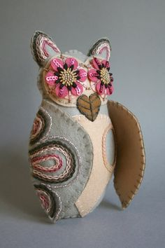 These Mexican Folk Art owls are inspired by thebrightly painted clay owls made in Southern Mexico. They are hand crafted out of 100% wool felt from my original pattern and painstakingly detailed with embroidery floss, scraps of acrylic felt, sequins, and vintage glass beads from my abuelitas bead box. All of my owls are completely blanket-stitched for longevity and bottom-weighted with non-toxic, poly-fil pellets. They stand on their own without any problems and the wings will stay open if…