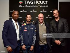 Soccer player didier drogba of the montreal impact red bull formula 1