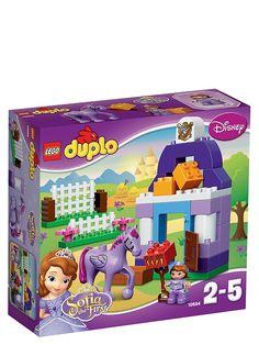 Lego Duplo, Sofia ensimmäisen kuninkaallinen hevostalli. Valmistaudu kuninkaalliseen ratsastuskilpailuun Sofian ja hänen lentävän ratsunsa kanssa! Rakenna Minimukselle viihtyisä talli, putsaa karsina talikolla ja syötä hevoselle heinää ja porkkanoita. 2–5-vuotiaille. Tuotenro 10594.