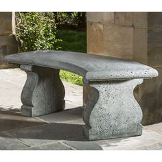 Rustic Curved Stone Bench Grey Patina