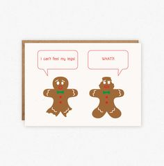 Funny Holiday Card Gingerbread Man Card Funny by ParchmentDesign