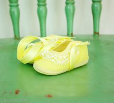 Vintage Baby Girl Yellow Ballet Slippers with Lace, new old stock by BugandBearVintage on Etsy