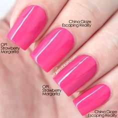OPI Strawberry Margarita and China Glaze Escaping Reality are very similar but not exactly dupes.